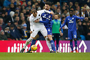 Leeds United forward Pierre-Michel Lasogga (9) shields the ball from Cardiff City defender Sean Morrison (4) during the EFL Sky Bet Championship match between Leeds United and Cardiff City at Elland Road, Leeds, England on 3 February 2018. Picture by Paul Thompson.
