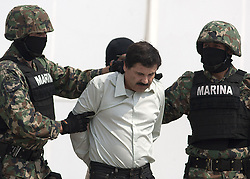 May 20, 2016 - Mexico, Distrito Federal, MEXICO - Mexico's Foreign Relations Department ruled Friday, May 20, 2016 that the extradition of convicted drug lord Joaquin ''El Chapo'' Guzman to the United States can go forward and that the United States has provided ''adequate guarantees'' that Guzman would not face the death penalty. Mexico has abolished capital punishment and does not extradite its citizens if they face possible execution. FILE PHOTO: 22 de February 2014. Joaquin Guzman Loera (a) El Chapo is escorted by Mexico's Marines. (Credit Image: © Prensa Internacional via ZUMA Wire)