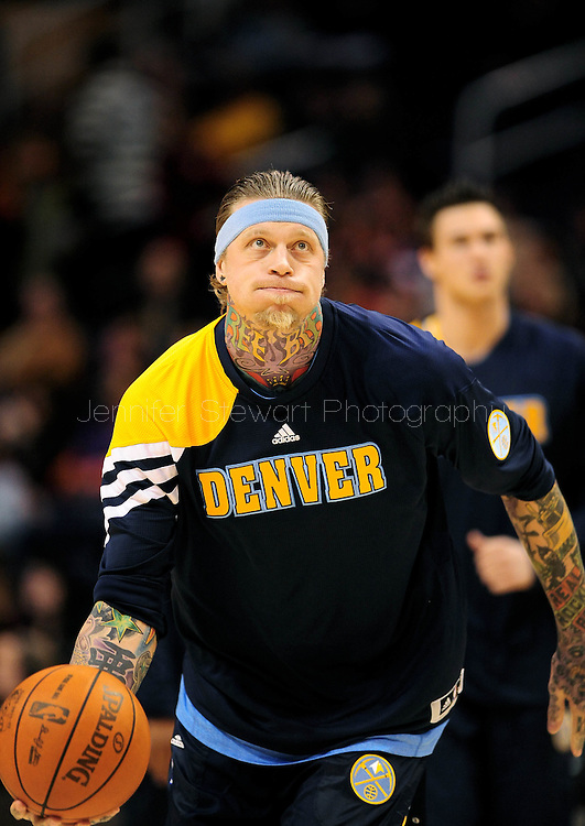 Dec. 22, 2011; Phoenix, AZ, USA; Denver Nuggets center Chris Andersen (11) reacts on the court against the Phoenix Suns during a preseason game at the US Airways Center. Mandatory Credit: Jennifer Stewart-US PRESSWIRE.