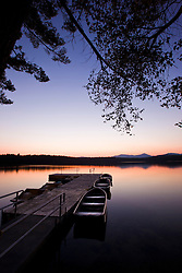 The boat dock after sunset at White Lake State Park in Tamworth, New Hampshire.
