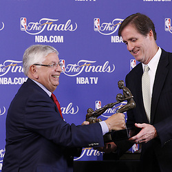 Jun 9, 2013; Miami, FL, USA; NBA commissioner David Stern presents a replica award to Jay Twyman, son of Jack Twyman, during the inaugural Twyman-Stokes Teammate of the Year Award press conference honoring best teammate in the NBA prior to game two of the 2013 NBA Finals at American Airlines Arena. Mandatory Credit: Derick E. Hingle-USA TODAY Sports