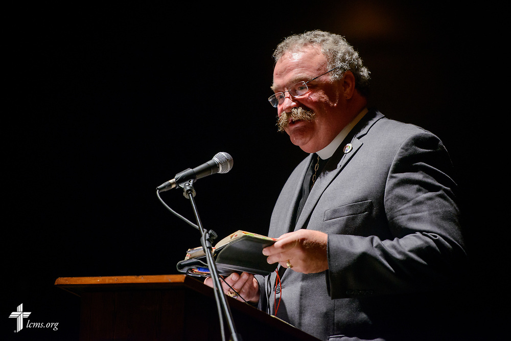 The Rev. Dr. Matthew C. Harrison, president of The Lutheran Church–Missouri Synod, speaks at the Teatro Nacional during a celebration of the 500th anniversary of the Lutheran Reformation on Thursday, Oct. 5, 2017, in Guatemala City, Guatemala. LCMS Communications/Erik M. Lunsford