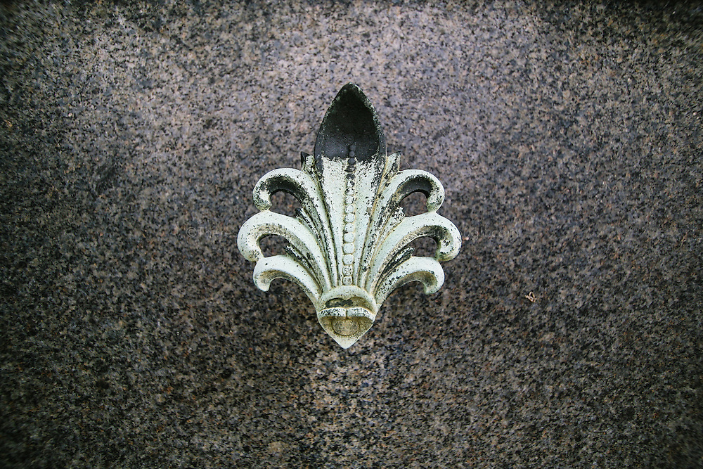 Floral detail of a mausoleum at a european cemetery