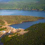 Aerial  view of Chalillo Dam and reservoir in the Cayo District, Belize