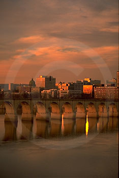 Harrisburg, PA, Skyline, Susquehanna River, Reflections