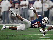 Wide Receiver Greg Campbell Jr. dives for additional yardage after a catch in game action, UTSA Roadrunners dominated Southern Jaguars 51-17.  Leading the charge was Roadrunners QB Dalton Sturm who threw for 292 yards, 4 passing TDs and ran for a fifth.  Alamodome, San Antonio, Texas, Sep 16, 2017