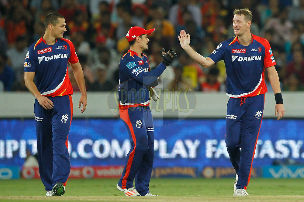 Christopher Morris of Delhi Daredevils celebrates the wicket of Bhuvneshwar Kumar of Sunrisers Hyderabad during match 42 of the Vivo IPL 2016 (Indian Premier League ) between the Sunrisers Hyderabad and the Delhi Daredevils held at the Rajiv Gandhi Intl. Cricket Stadium, Hyderabad on the 12th May 2016<br /> <br /> Photo by Deepak Malik / IPL/ SPORTZPICS