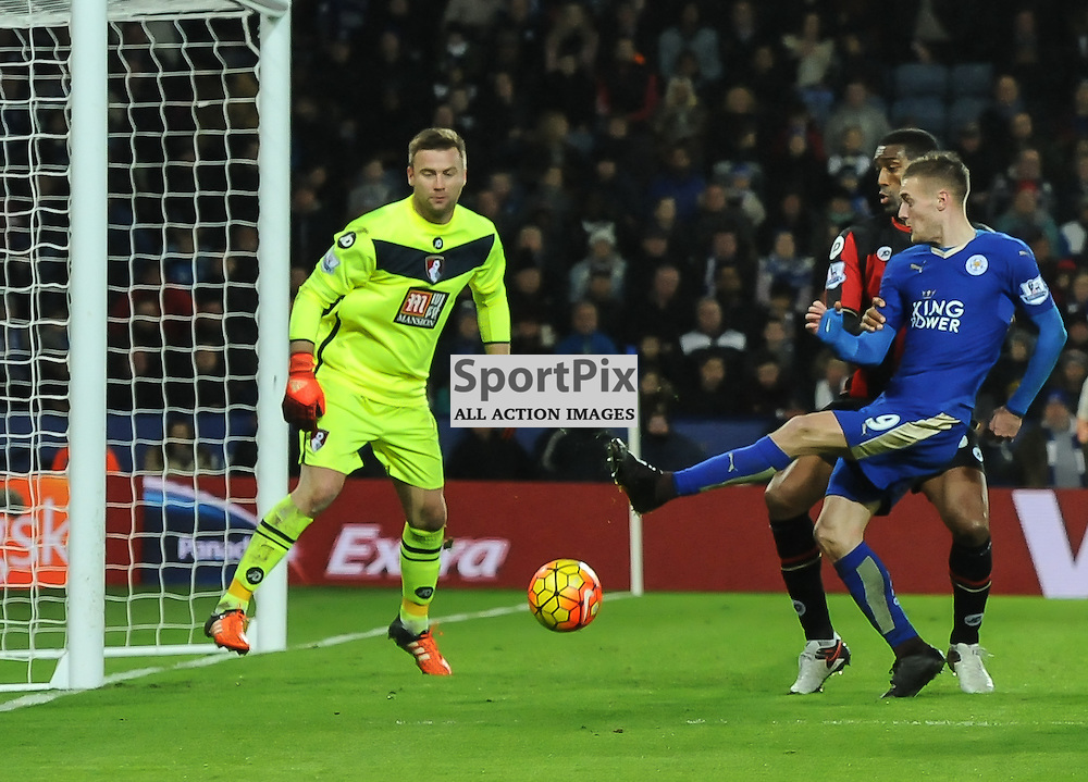 Jamie Vardy goes close as Leicester press for a goal in the second half (c) Simon Kimber | SportPix.org.uk