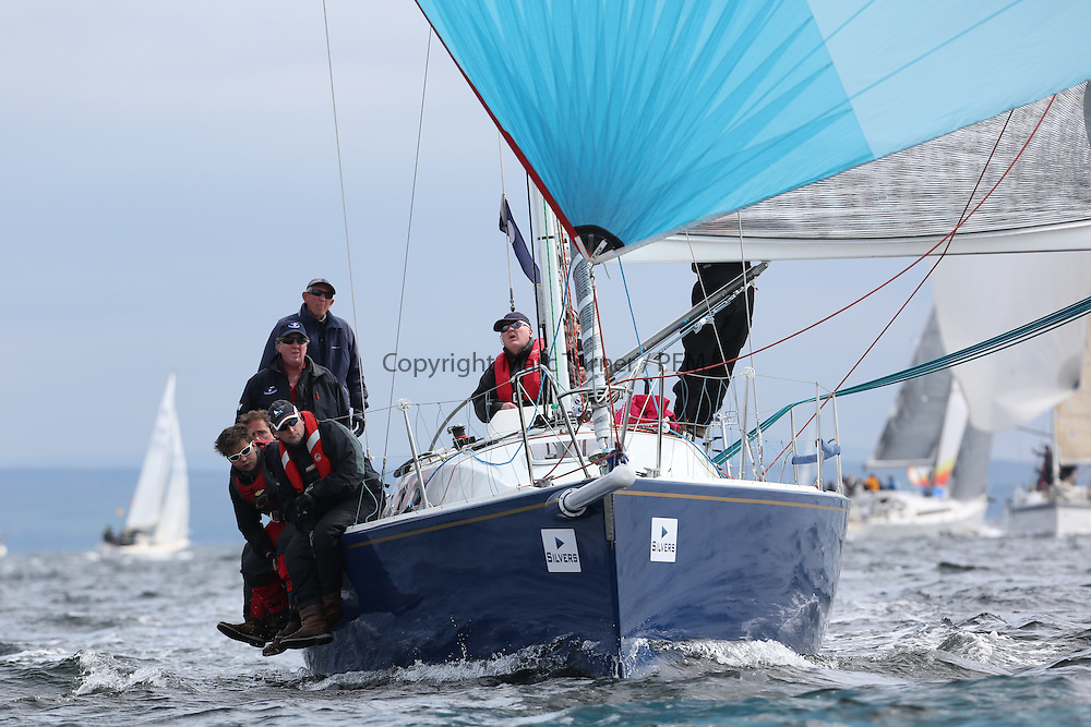 The Silvers Marine Scottish Series 2014, organised by the  Clyde Cruising Club,  celebrates it's 40th anniversary.<br /> Day 2 IRL29213, Something Else, Hall/McDonnell, National YC, J109<br /> Racing on Loch Fyne from 23rd-26th May 2014<br /> <br /> Credit : Marc Turner / PFM
