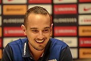 Mark Sampson (Manager) (England) in the press conference after the International Friendly match between England Women and France Women at the Keepmoat Stadium, Doncaster, England on 21 October 2016. Photo by Mark P Doherty.