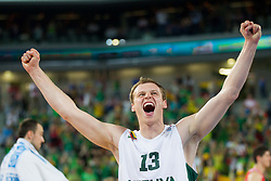 Martynas Pocius #13 of Lithuania celebrate after winning the basketball match between National teams of Lithuania and Croatia in Semifinals at Day 17 of Eurobasket 2013 on September 20, 2013 in Arena Stozice, Ljubljana, Slovenia. (Photo by Vid Ponikvar / Sportida.com)