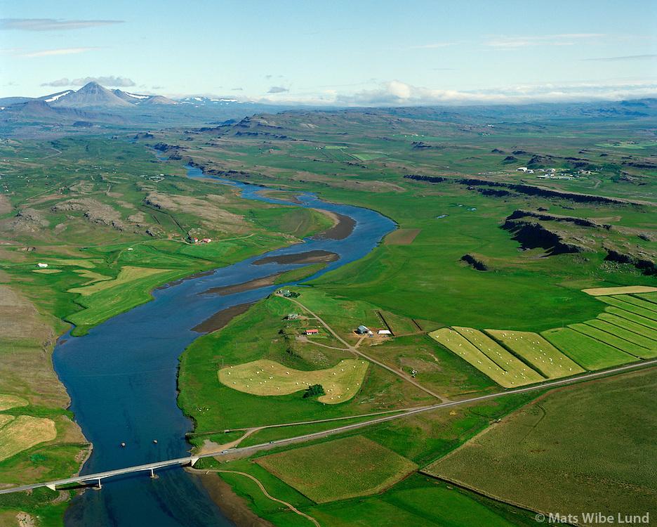 Hlöðutún séð til norðurs, Norðurá, Borgarbyggð áður Stafholtstungnahreppur / Hlodutun viewing north, river Nordura, Borgarbyggd former Stafholtstungnahreppur.