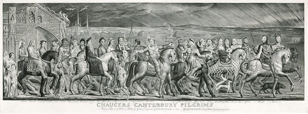 Chaucer's Canterbury Pilgrims'on their journey. Engraving after a painted fresco by William Blake 1810.  William Blake (1757-1827) English painter, printer and mystic.   'The Canterbury Tales' by Geoffrey Chaucer (c1345-1400) English poet.