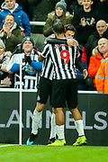 Fabian Schar (#5) of Newcastle United scores Newcastle United's second goal (2-0) with Jose Salomon Rondon (#9) of Newcastle United during the Premier League match between Newcastle United and Cardiff City at St. James's Park, Newcastle, England on 19 January 2019.