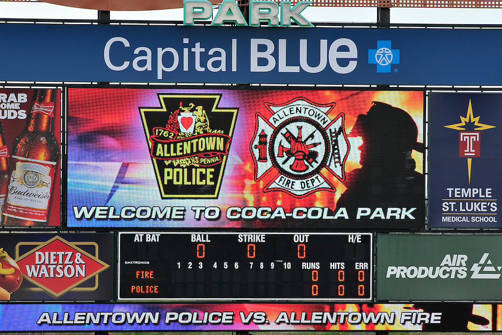 4/26/2014 Allentown, PA Police Officers and Firefighters from the City of Allentown take to the field at Coca-Cola Park Saturday afternoon for a 90-minute softball game as part of Hero's Night, an IronPigs special event to promote local emergency responders. Express-Times Photo   CHRIS POST