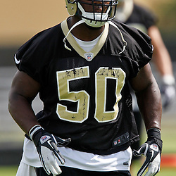 May 31, 2012; Metairie, LA, USA; New Orleans Saints linebacker Curtis Lofton (50) during organized team activities at the team's practice facility. Mandatory Credit: Derick E. Hingle-US PRESSWIRE