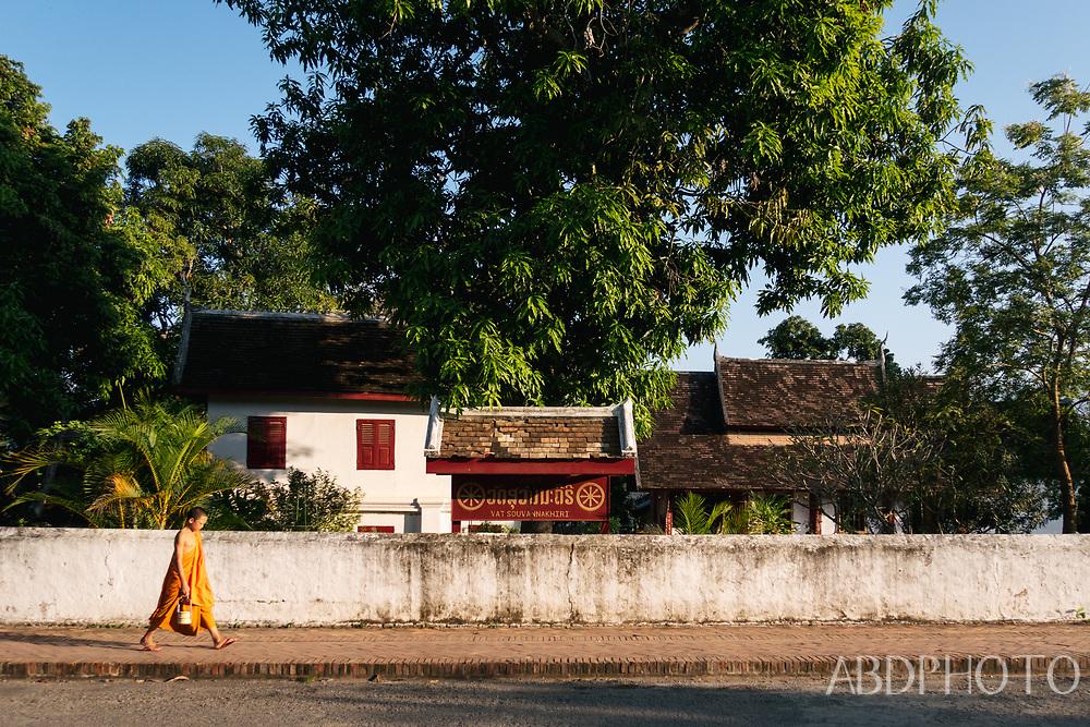 monk temple luang prabang laos southeast asia