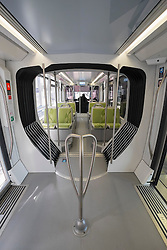 Interior of carriage of tram on new Dubai Tram system in Marina district of Dubai United Arab Emirates