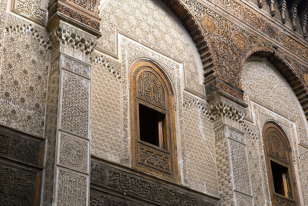 FEZ, MOROCCO - 2ND FEBRUARY 2018 - Al-Kairouine Mosque and University, Fez Medina, Morocco.<br /> <br /> Established at the very beginnings of Morocco's oldest imperial city, the University of Al-Karaouine (also written as Al-Quaraouiyine and Al-Qarawiyyin) was founded in 859 and is considered by Unesco and the Guinness Book of World Records to be the oldest continually operating university in the world.
