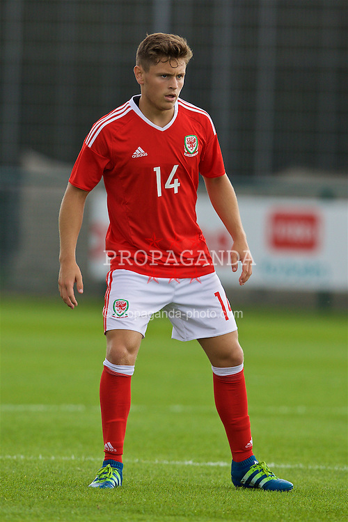 NEWPORT, WALES - Tuesday, September 6, 2016: Wales' Kieran Evans in action against Iceland during the International Friendly match at Dragon Park. (Pic by David Rawcliffe/Propaganda)