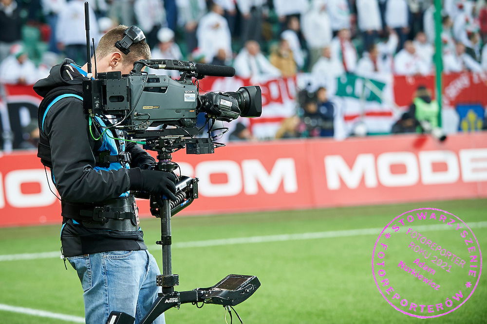Steadicam while TV broadcast production at Pepsi Arena on November 02, 2014 in Warsaw, Poland<br /> <br /> Picture also available in RAW (NEF) or TIFF format on special request.<br /> <br /> For editorial use only. Any commercial or promotional use requires permission.<br /> <br /> Mandatory credit:<br /> Photo by &copy; Adam Nurkiewicz / Mediasport