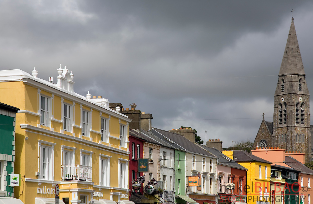 Town center and Catholic Church.  Clifden city.  Connemara region. County Galway. Republic of Ireland.