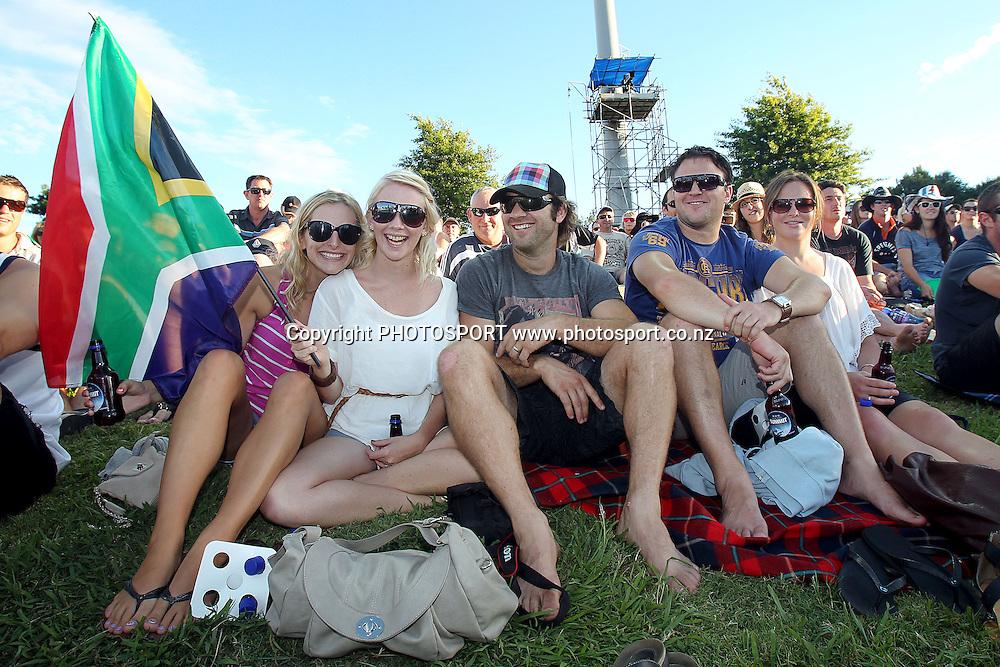 Fans. New Zealand Black Caps v South Africa, International Twenty-20 at Seddon Park, Hamilton, New Zealand. Sunday 19th February 2012. Photo: Anthony Au-Yeung/photosport.co.nz