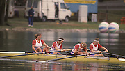 Bled, Slovenia, YUGOSLAVIA. GBR W4- .Bow, Fiona JOHNSTONE, Kate GROSE, Joanna GOUGH and Sue SMITH. 1989 World Rowing Championships, Lake Bled. [Mandatory Credit. Peter Spurrier/Intersport Images]