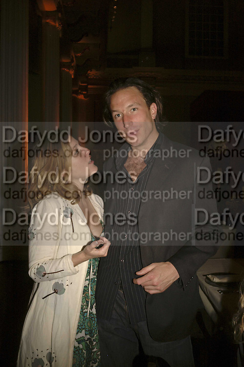 Gillian Anderson and Petroc Sesti , VIP opening of Bill Viola exhibition Love/Death: The Tristan project. Haunch of Venison, St Olave's College, Tooley St. London and Dinner afterwards at Banqueting House. Whitehall. 19 June 2006. ONE TIME USE ONLY - DO NOT ARCHIVE  © Copyright Photograph by Dafydd Jones 66 Stockwell Park Rd. London SW9 0DA Tel 020 7733 0108 www.dafjones.com