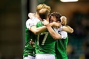 Hibernian midfielder Danny Swanson (#11) celebrates Hibernian's first goal (1-1) during the Betfred Scottish Cup match between Hibernian and Livingston at Easter Road, Edinburgh, Scotland on 19 September 2017. Photo by Craig Doyle.