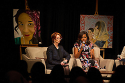 © Licensed to London News Pictures. 16/06/2015. London, UK. L to R First lady MICHELLE OBAMA, former prime minister of Australia JULIAN GILLARD and head teacher at Mulberry School Dr Vanessa Ogden (Not pictured) take part in a questions and answers session   during a visit to Mulbery School For Girls in east London. Photo credit: Ben Cawthra/LNP