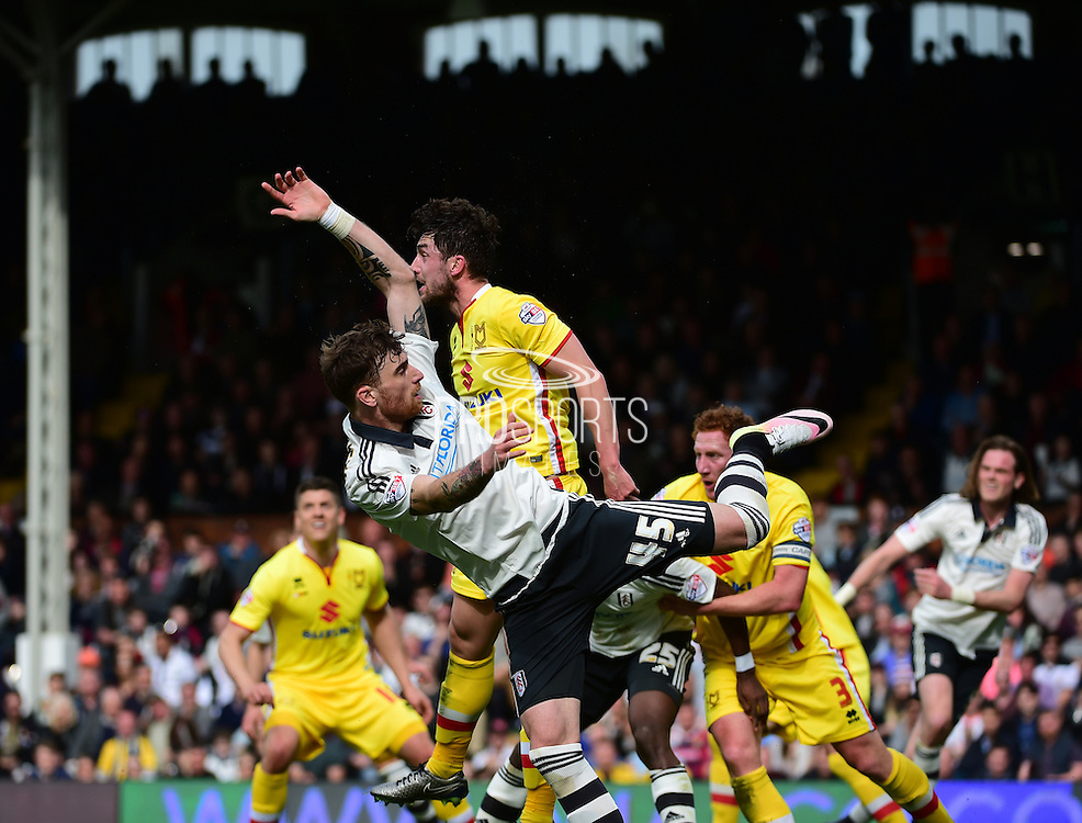 Fulham Defender Fernando Amorebieta (45) in action during the Sky Bet Championship match between Fulham and Milton Keynes Dons at Craven Cottage, London, England on 2 April 2016. Photo by Jon Bromley.