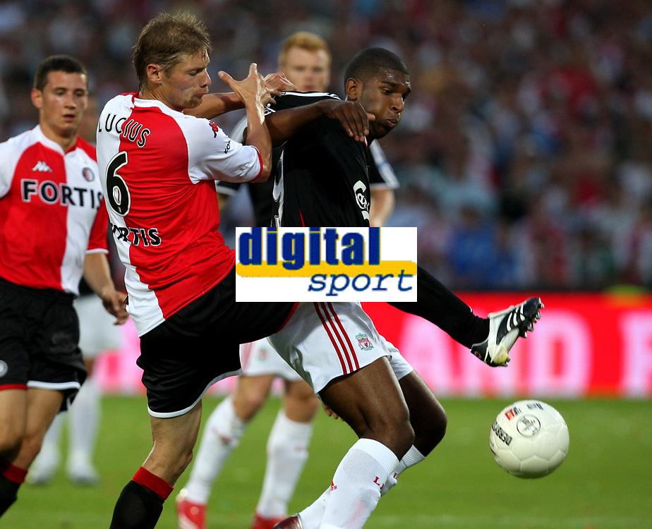 Photo: Maarten Straetemans.<br /> Feyenoord v Liverpool. Rotterdam Tournament. 05/08/2007.<br /> Theo Lucius with Ryan Babel of Liverpool