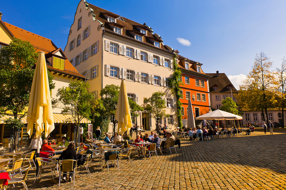 Schlossplatz, the medieval city of Meersburg on Lake Constance (Bodensee), Baden-Württemberg, Germany