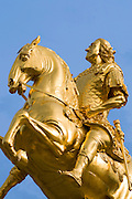 Dresden Neustadt, goldener Reiter (Friedrich August I. von Sachsen (August der Starke)), Dresden, Sachsen, Deutschland.|.Dresden, Germany,  Dresden Neustadt, golden rider memorial