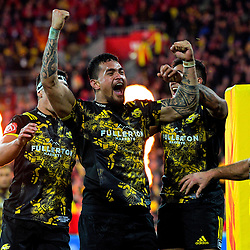 Vaea Fifita celebrates scoring a late try during the 2017 DHL Lions Series rugby match between the Hurricanes and British & Irish Lions at Westpac Stadium in Wellington, New Zealand on Tuesday, 27 June 2017. Photo: Dave Lintott / lintottphoto.co.nz