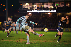 Leicester Inside Centre (#12) Dan Bowden kicks to clear his lines during the first half of the match - Photo mandatory by-line: Rogan Thomson/JMP - Tel: Mobile: 07966 386802 04/01/2012 - SPORT - RUGBY - Sixways - Worcester. Worcester Warriors v Leicester Tigers - Aviva Premiership.