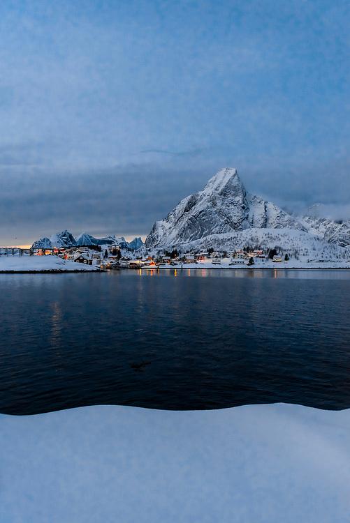 The fishing village of Reine, on Moskenseoya Island in the Lofoten Islands, Arctic, Northern Norway.