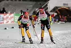 05.01.2012, DKB-Ski-ARENA, Oberhof, GER, E.ON IBU Weltcup Biathlon 2012, Staffel Herren, im Bild Staffel-Übergabe von Florian Graf auf Arnd Peiffer (beide GER) // during relay Mens of E.ON IBU World Cup Biathlon, Thüringen, Germany on 2012/01/05. EXPA Pictures © 2012, PhotoCredit: EXPA/ nph/ Hessland..***** ATTENTION - OUT OF GER, CRO *****