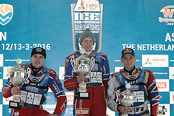 13.03.2016, Assen, BEL, FIM Eisspeedway Gladiators, Assen, im Bild Siegerehrung Sieger Dmitry Khomitsevich (RUS), zweiter Dmitry Koltakov (RUS), dritte3 Daniil Ivanov (RUS) // during the Astana Expo FIM Ice Speedway Gladiators World Championship in Assen, Belgium on 2016/03/13. EXPA Pictures © 2016, PhotoCredit: EXPA/ Eibner-Pressefoto/ Stiefel<br /> <br /> *****ATTENTION - OUT of GER*****