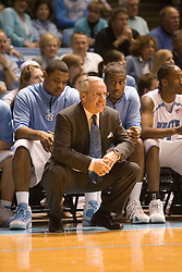 UNC head coach Roy Williams along the sidelines against UVA.  The #1 ranked Tar Heels beat the Cavaliers 79-69 to improved to 15-1 overall, 2-0 ACC on January 10, 2007 at the Dean Smith Center in Chapel Hill, NC.<br />