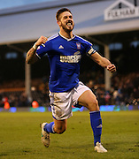 4. Luke Chambers celebrating win during the Sky Bet Championship match between Fulham and Ipswich Town at Craven Cottage, London, England on 14 February 2015. Photo by Matthew Redman.