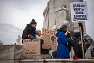 Protestors outside Union Station<br />