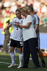 June 29, 2019 - Rennes, France - Martina Voss-Tecklenburg head coach of Germany gives instructions to Svenja Huth (FFC Turbine Potsdam) during the 2019 FIFA Women's World Cup France Quarter Final match between Germany and Sweden at Roazhon Park on June 29, 2019 in Rennes, France. (Credit Image: © Jose Breton/NurPhoto via ZUMA Press)