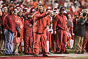 FAYETTEVILLE, AR - NOVEMBER 22:  Head Coach Bret Bielema of the Arkansas Razorbacks on the sidelines in the rain during a game against the Ole Miss Rebels at Razorback Stadium on November 22, 2014 in Fayetteville, Arkansas.  The Razorbacks defeated the Rebels 30-0.  (Photo by Wesley Hitt/Getty Images) *** Local Caption *** Bret Bielema