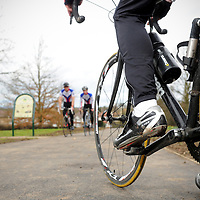 18.02.2012.Hertsmere Borough Council Magazine Shoot. .The new cycle lane at Parkfield in Potters Bar, which connects Byng Drive and the High Street. Pictured are the A-to-B cycling team. Photography © Blake-Ezra Cole. www.blakeezracole.com
