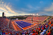 Boise State University, BSU stadium, football game at sunset with the foothills beyond. Idaho.