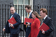 Downing Street, London, UK. 24th March, 2015. Liberal Democrat ministers arrive at the weekly Cabinet Meeting at Downing Street. Pictured: Ed Davey, Jo Swinton, Danny Alexander, Vince Cable, Don Foster, Nick Clegg, // Lee Thomas, Flat 47a Park East Building, Bow Quarter, London, E3 2UT. Tel. 07784142973. Email: leepthomas@gmail.com. www.leept.co.uk