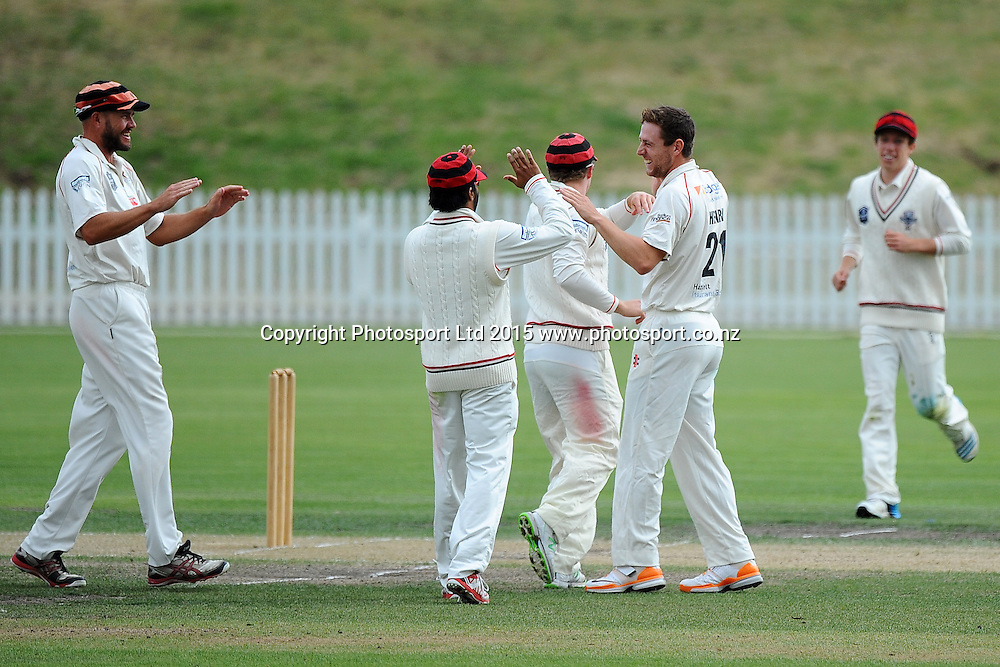 Canterbury player Matt Henry celebrates the wicket of Central Stags player Greg Hay during their Plunket Shield match Central Stags v Canterbury at Saxton Oval, Nelson, New Zealand. Friday 20 March 2015. Copyright Photo: Chris Symes / www.photosport.co.nz