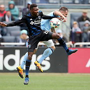 NEW YORK, NEW YORK - April 12:  Shaun Francis #20 of San Jose Earthquakes is challenged by Maxime Chanot #4 of New York City FC during the New York City FC Vs San Jose Earthquakes regular season MLS game at Yankee Stadium on April 1, 2017 in New York City. (Photo by Tim Clayton/Corbis via Getty Images)